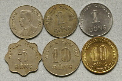 SOUTH VIETNAM 1,5,10 Dong 1960-1974 Lot of 6 Different War Era Coins, No Res.!