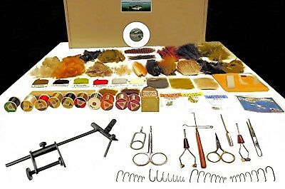COMPLEAT FLY TYING KIT -  DVD, Vise, Tools, Feathers, Material - 131 Items