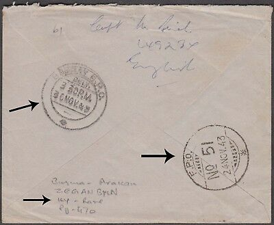BURMA UNIQUE FPO 51 COVER 2nd WW FROM ZEGANBYLN ARAKAN - MUST SEE !
