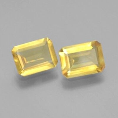 BEAUTIFUL PAIR OF 8x6mm OCTAGON CUT NATURAL EARTH MINED CITRINE GEMSTONE 2 PIECE