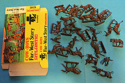 ATLANTIC 1/72 Far-West Story - COW-BOYS - STAMPEDE  -  LOT LOOSE RARE BOX