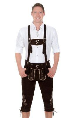 Bavarian traditional leather trousers Lederhosen with suspenders darkbrown wi...