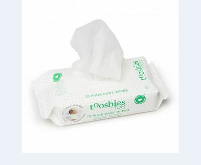 16 x 70pk  (1120 Wipes) NEW Tooshies by TOM eco Baby Wipes BULK * FREEPOST