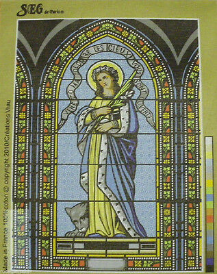 Sainte Colombe (Stained Glass Window) - New UNSTITCHED TAPESTRY -SEG de PARIS