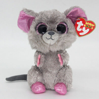 """New 6"""" Ty Beanie Boos Squeaker Mouse Med Stuffed Plush Toys Child Christmas Gift"""