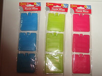 Pack Of 3 Mini Freezer/cooler Blocks/ice Packs Lunch Bag - Blue, Pink Or Lime