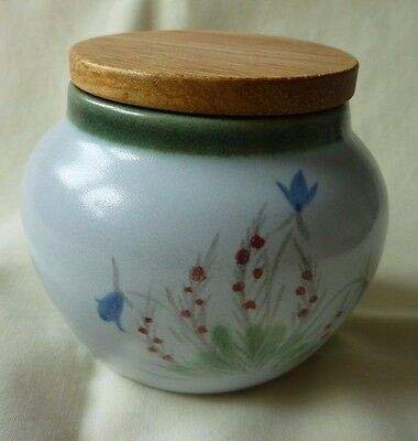 1 x Lidded Buchan Stoneware Pot-Portobello Scotland-Bluebell & Heather