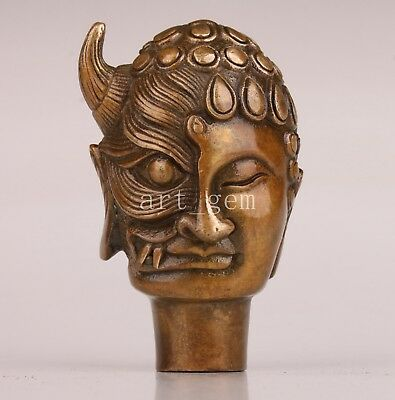 Walking Stick Cane Head Rare Bronze Casting Buddha Devil Statue Collectable Old
