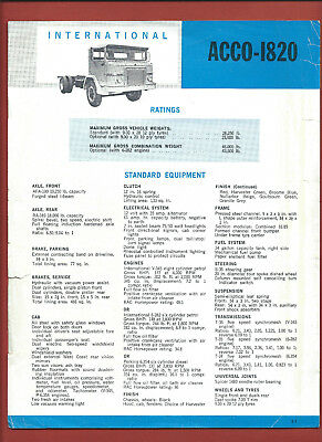 IH INTERNATIONAL ACCO-1820 sales technical leaflet