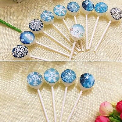 10 Sticks Snow Flakes Starry Sky Lollipop Peach Flavor Hard Hand-Crated Candy
