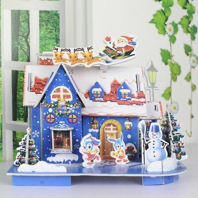 3D Puzzle Christmas House Paper Model Kids Educational Toys BEST Gift