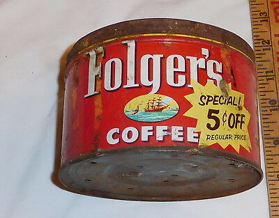 vintage Folger's Coffee EMPTY Tin can no lid 1 pound size special 5 cents off
