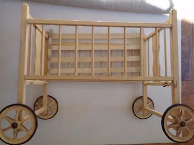 "Old Antique Wood Baby Doll Crib Bed Cream Paint Big Wheels 30.5"" x 22"" x 15.5"""