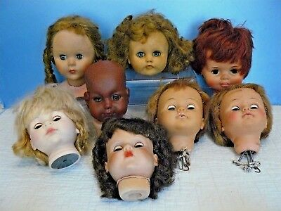 Lot of 8 MEDIUM LARGE Vintage CREEPY DOLL HEADS for OOAK Projects HALLOWEEN