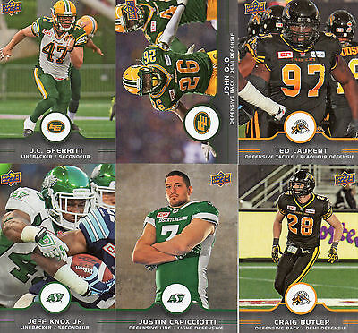 2016 Upper Deck CFL Defensive Players Complete Your Set Pick from enclosed list