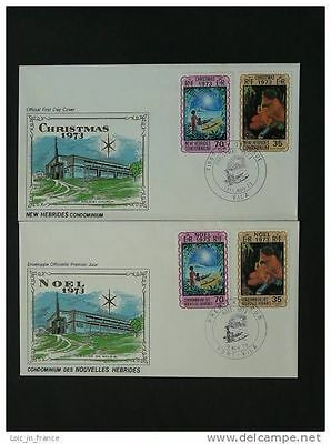 christmas 1973 x2 FDC New Hebrides