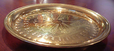 Vintage Peerage England Round Brass Bar Tray Serving Tray Floral Embossed