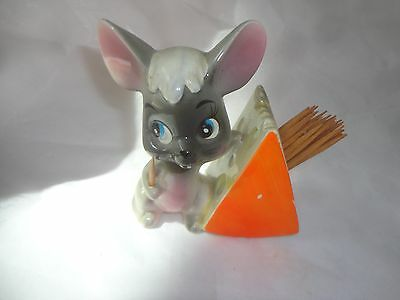 Enesco Japan Mouse And Cheese Toothpick Holder.