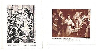 Perry Pictures (2) Christ & Doctors Chirst Money Changers Hofmann 3 x 3.5