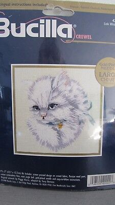 "NEW BUCILLA CREWEL EMBROIDERY KIT 5 X 5"" LITTLE WHITE KITTY Cat"