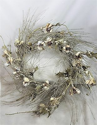 "Gold Glittered Flower and Holly Romantic  22"" Christmas WREATH  New Sparkling"