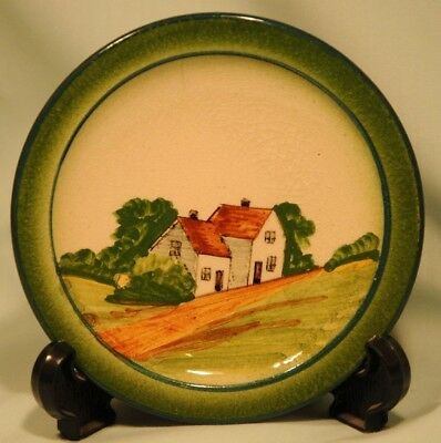 Watcombe Faience Torquay Pottery Small Childs Plate, Decorated with Cottage