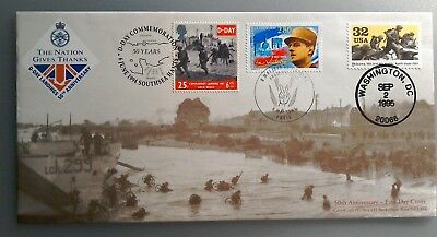 1995 COVERCRAFT LTD EDITION FDC - 50th ANNIV. D-DAY - SOUTHSEA/PARIS/WASHINGTON