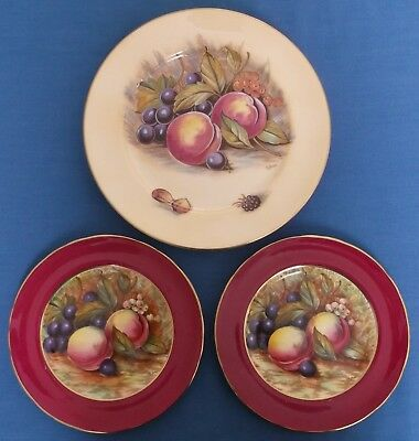 Aynsley Orchard Gold Fruits Three Plates Signed D Jones Bone China England
