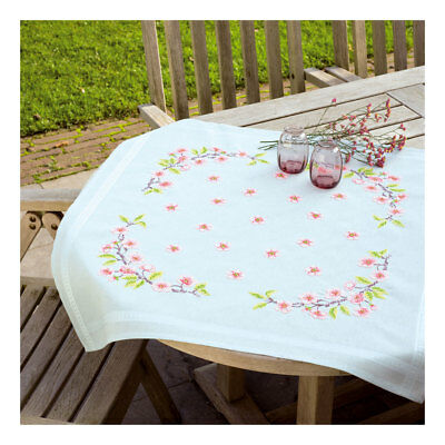 Embroidery Kit Tablecloth Apples & Pears Design Stitched on Ecru Fabric  80x80cm