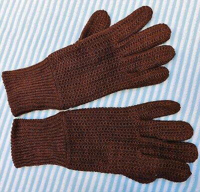 Ladies knitted cotton gloves vintage 1990s UNUSED brown Small Medium Large NEW