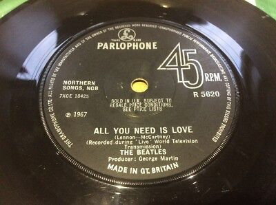 The Beatles - All You Need Is Love / Baby You're A Rich Man 7 Inch Solid