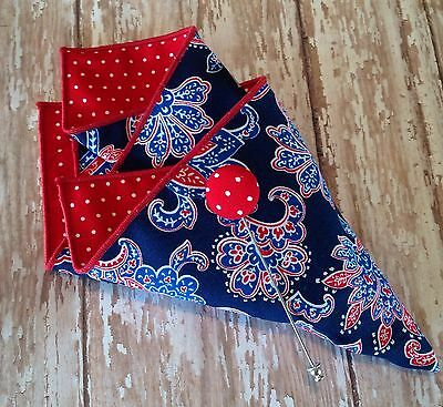 NEW Pocket Square Paisley Floral Lapel Pin Red Blue Reversible Gift Set American