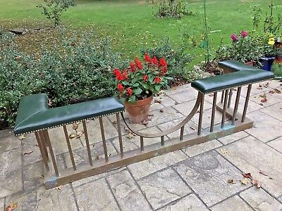 Antique Vintage Copper Green Leather Seat Fireplace Fender