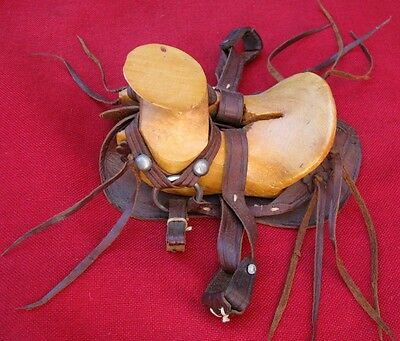 Fine Quality Old Miniature Saddle ~ Hand Carved Wood & Leather ~ Mexican