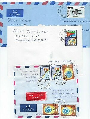 ERITREA 1990s THREE ASMARA DATED CANCEL AIR MAIL COVER ONE W/SCARCE EXPRESS MAIL