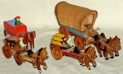 Wooden Toys (4) Antique  Horse & Wagon Erzgebirge Japan Covered Wagon
