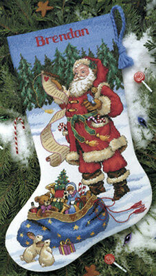"Checking His List Stocking Counted Cross Stitch Kit-16"" Long"