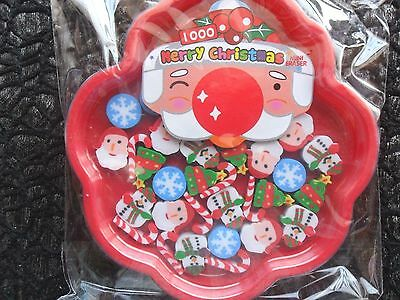 1 Bulk Pack Of 39 Mini Xmas Christmas Erasers In A Red Tray Party Favor Toy