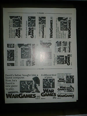 "WAR GAMES, orig uncut 6"", 8"", & 9"" ads [Matthew Broderick, Ally Sheedy]"