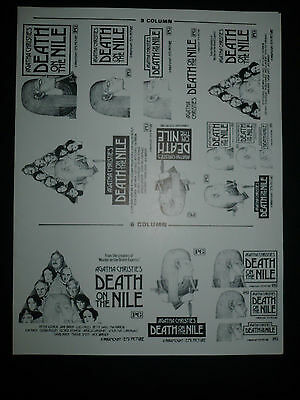"DEATH ON THE NILE, orig uncut 6"", 8"", & 9"" ads [Agatha Christie, Peter Ustinov]"