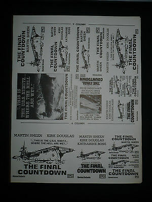 "THE FINAL COUNTDOWN, orig uncut 6"", 8"", 9"" ads & a slug sheet [Martin Sheen]"
