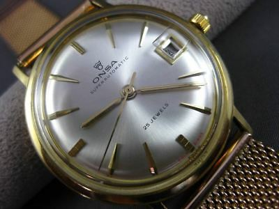 Antique Large 18Kt Yellow & 14Kt Rose Gold Onsa Super Automatic Mens Watch 20262
