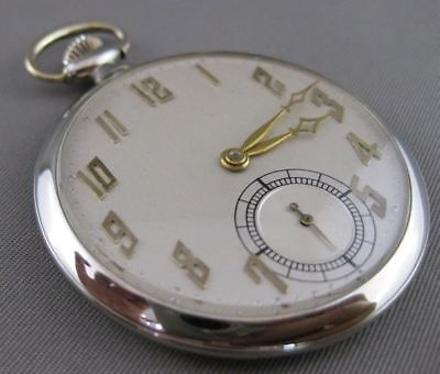 Authentic 18Kt White & Yellow Gold Working Swiss Pocket Watch 18 Jewels #20974