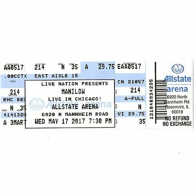 BARRY MANILOW Full Concert Ticket Stub CHICAGO IL 5/17/17 ALLSTATE ARENA LIVE!