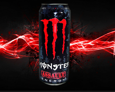 Monster Energy Drink Red Assault Case Of 24 Pack 16oz Cans High Caffeine Drinks