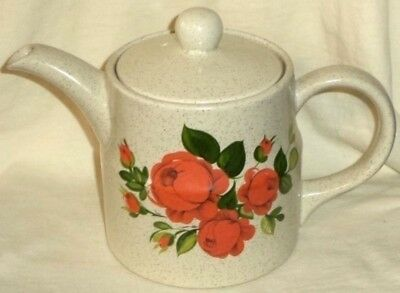 Ellgreave Teapot Wood & Son Speckled Ironstone Roses Made in England