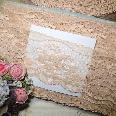 """5/"""" VTG FRENCH NUDE PEACH LACE FLOWER TULLE SCALLOP DOLL DRESS TRIM SCHIFFLI TAPE"""