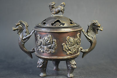 Fine Collectible Old Copper Dragon Lion Theme Hollow Out Lid Incense Burner