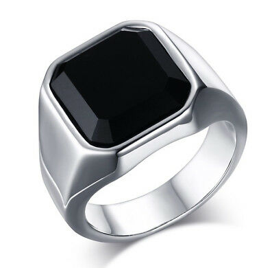 Black Agate Silver Polish Stainless Steel Square Face Mens Ring Wedding Band M65