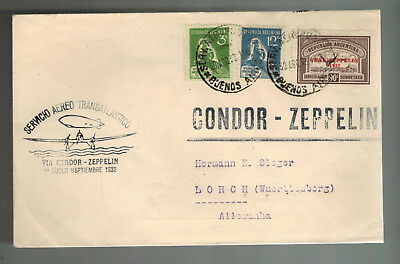1932 Argentina LZ 127 Graf Zeppelin Cover to Germany Condor Hermann Sieger